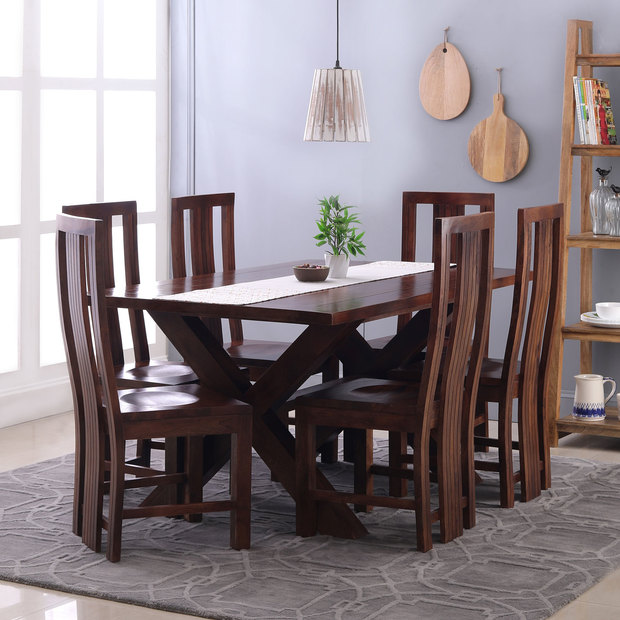Clovis-Capra 6 Seater Dining Table Set