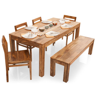Gresham-Barcelona 6 Seater Dining Table Set(With Bench)